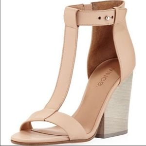 VINCE. NOLAN NUDE TAN LEATHER T BAR STRAP HEELS
